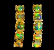 A pair of 925 silver gilt earrings set with cabochon cut opals, L. 2.1cm.