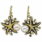 A pair of 925 silver gilt starfish shaped drop earrings set with pearl and fancy coloured sapphires,