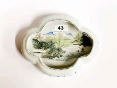 A mid-20th C Chinese porcelain brush washing bowl hand painted with a river scene, W. 21cm, H. 4cm.