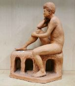 A studio pottery figure of a naked male subject, signed Dale '90, H. 42cm.