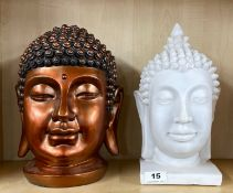 Two contemporary resin Buddha heads, H. 30cm.