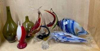 A group of Murano and other glassware.