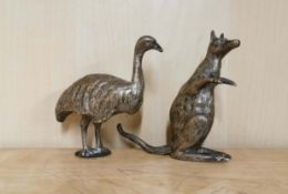 Two 19th C silver plated brass/bronze figures of a kangaroo and an emu, H. 10cm.