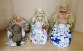 A group of five Chinese porcelain figures and one resin, tallest 20cm.