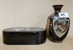 An early 20th C Japanese cloisonne vase (A/F), H. 15.5cm, together with an oriental mother of
