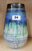 A hand painted Shelley vase filled and weighted as a lamp base, H. 23cm.