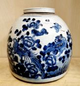 A 19th C Chinese hand painted provincial porcelain storage jar and lid decorated with birds among