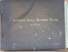 A 1933 leather bound photograph album for the Juvenile Ball, Mansion House, London, approx 27