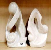 Two carved Zimbabwe soapstone figures, H. 28cm.