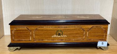 A good quality contemporary inlaid Swiss music box with five aires, 39 x 16 x 13cm.