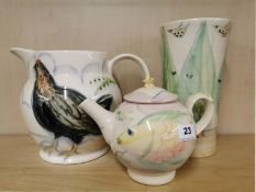 Three studio pottery items by Kate and Richard Baxter, Leigh-on-sea, tallest. 26cm.
