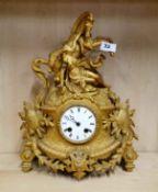 A 19th C French gilt spelter mantel clock, H. 38cm.