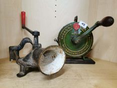 A cast iron Spong mincer together with a Spong knife polisher, Knife polisher H. 23cm.
