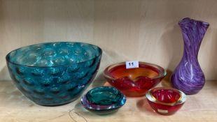 Five good glass items, largest Dia. 25cm.