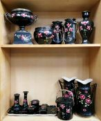 A group of 1920's rose decorated porcelain items, tallest 29cm. One large vase and flower arranger