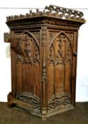 An 17th / 18th C carved church pulpit door with original iron hinges, H. 120cm x 86cm.