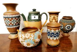A collection of six Doulton Lambeth stoneware items, tallest 20cm.