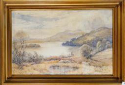 A gilt framed early 20th C. lakeland watercolour with indistinct signature dated '1917', framed size