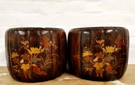 A pair of Japanese barrel style Shibayama decorated wooden planters with copper liners, dia. 30cm,