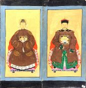 A pair of large Chinese ancestor paintings on canvas, 101 x 51cm.