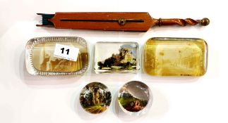 A group of five Victorian and other paper weights and an unusual wood and paper fan with turned