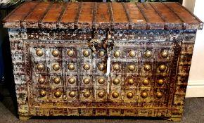 A superb iron bound Indian Rajasthan vintage hardwood chest, 125cm x 54cm x 78cm.