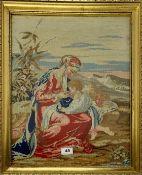 A 19th Century gilt framed tapestry, frame size 46 x 57cm.