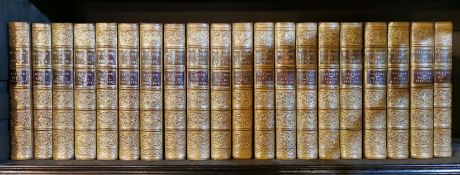 """Twenty volumes, leather bound, of Alison's """"History of Europe 1770 - 1813"""", 1847 edition, H. 18cm."""