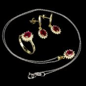 A suite of matching 925 silver gilt ring, pair of earrings and pendant and chain, set with rubies