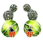 A pair of 925 silver enamelled marcasite set cactus shaped drop earrings, L. 2.8cm.