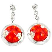 A pair of 925 silver drop earrings set with Murano glass millefiori, L. 3cm.