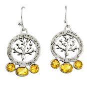 A pair of 925 silver drop earrings set with oval cut citrines, L. 3.7cm.