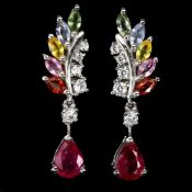 A pair of 925 silver drop earrings set with a pear cut ruby and marquise cut fancy sapphires, L. 2.
