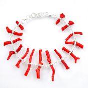 A 925 silver coral set bracelet, L. 20cm.
