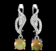 A pair of 925 silver drop earrings set with opals and white stones, L. 2.5cm.