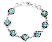 A 925 silver bracelet set with swiss cut blue topaz, L. 20cm.