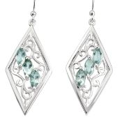 A pair of 925 silver drop earrings set with marquise cut blue topaz, L. 4.5cm.