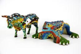 Two Spanish Gaudi inspired ceramic items, Bull H.12.5 cm L. 22 cm.