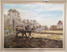 Three framed paintings, two oils, one watercolour, signed R. Clap, largest 67 x 53cm.