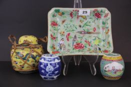 A 19th/20th century Chinese famille rose enamelled dish, 21 x 17cm, together with three porcelain