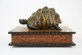 A 19th century colonial inlaid workbox, with a tortoiseshell and inlaid jewellery box on the lid, 33