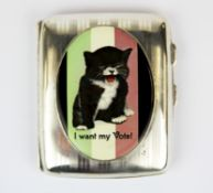 Suffragette interest. A hallmarked silver cigarette case with enamelled inset panel, c. 1919,
