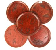 A set of five Chinese lacquered dishes, Dia. 27cm.