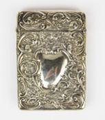 A hallmarked silver card case, 9.5 x 6.5cm.