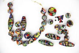 A quantity of Murano glass millefiori beads.