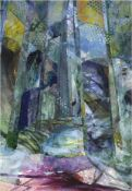 "Rosemary Firth, ""Forest Pathaway"", unframed mixed media collage, 2020, 38 x 50cm. Shipping"