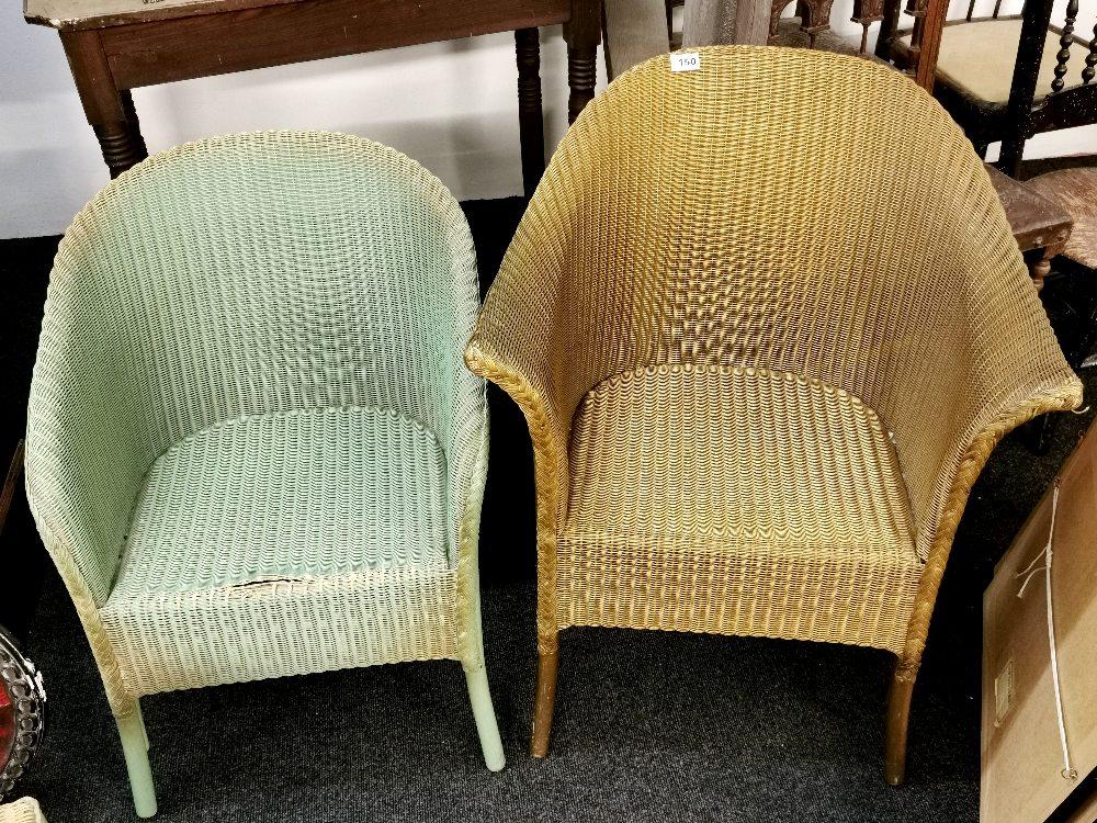 Two Lloyd Loom chairs and Lloyd loom linen basket. - Image 3 of 3