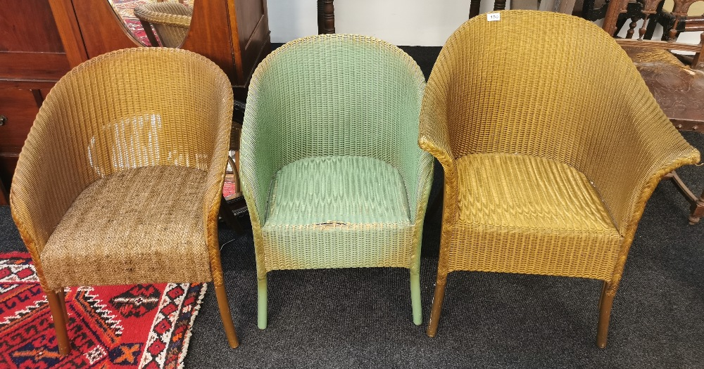 Two Lloyd Loom chairs and Lloyd loom linen basket. - Image 2 of 3