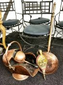 A Victorian copper coal scuttle and shovel with a copper warming pan and hammered brass and wood