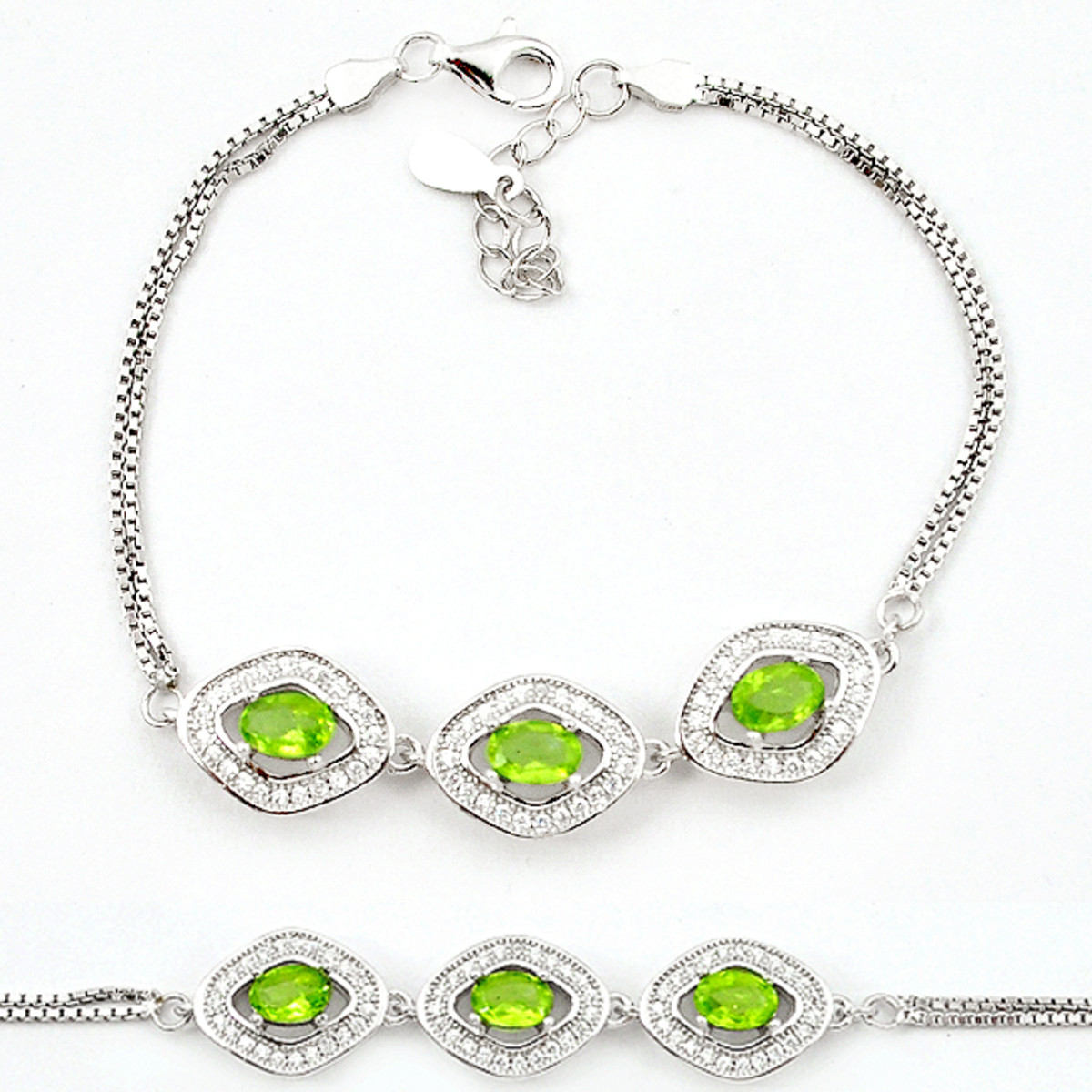 A 925 silver bracelet set with oval cut peridots and white stones, L. 16cm.